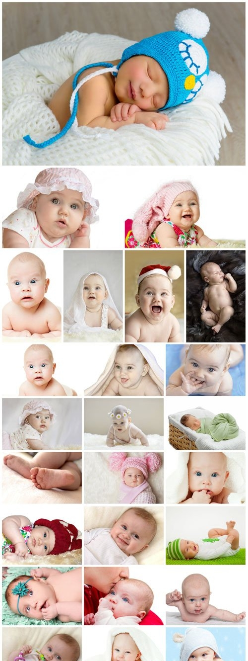 Little newborn babies stock photo