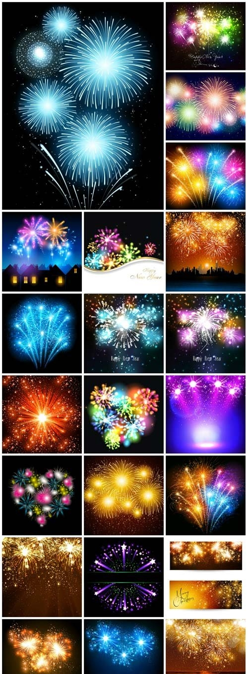 Multicolored fireworks vector backgrounds