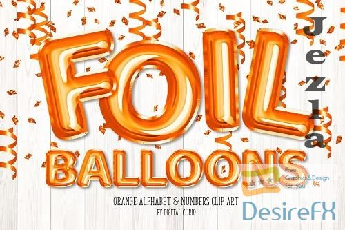 Orange Foil Balloon Alphabet Clipart - 5760729
