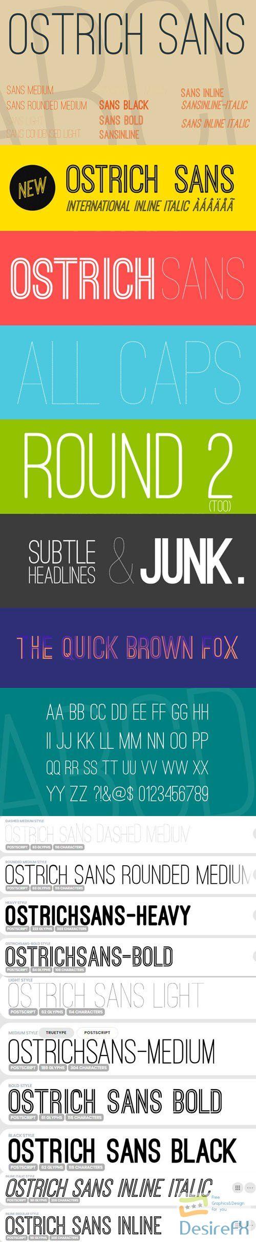 Ostrich Sans Serif Font Family 10-Weights