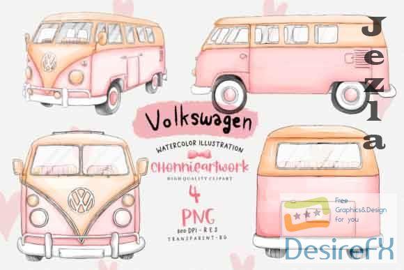 Pink Volkswagen Van Sublimation Bundle