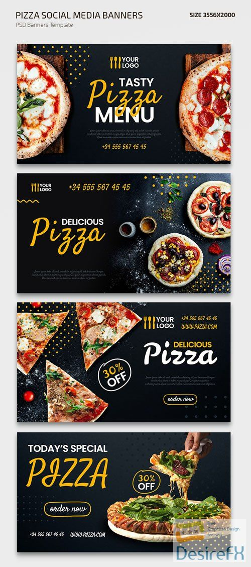 Pizza Social Media Banners Vector Templates