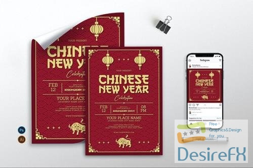 Red Gold Chinese New Year - Flyer, Poster & IG AS