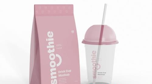 Smoothie Bottle and Packaging Mockup