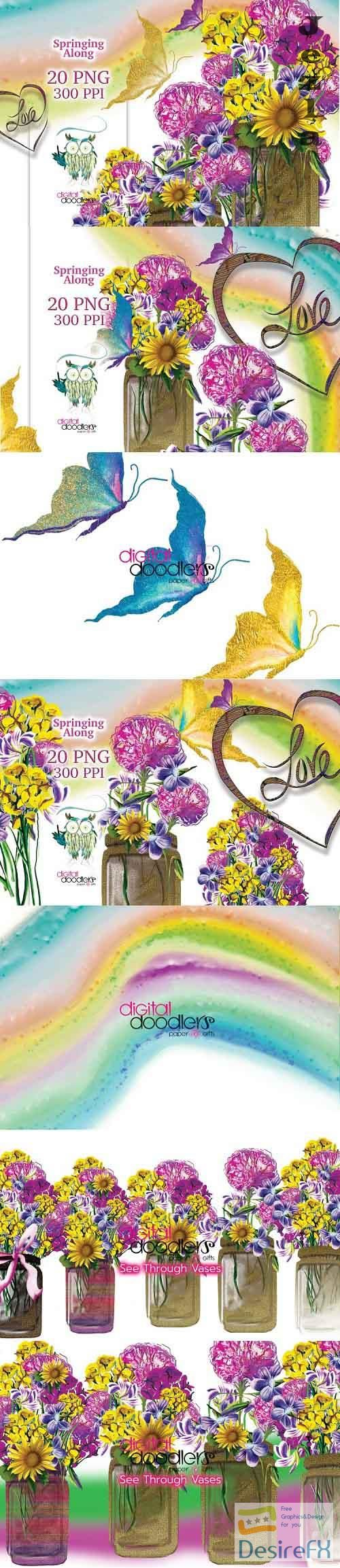 Springing Along Floral Graphics - 1136990