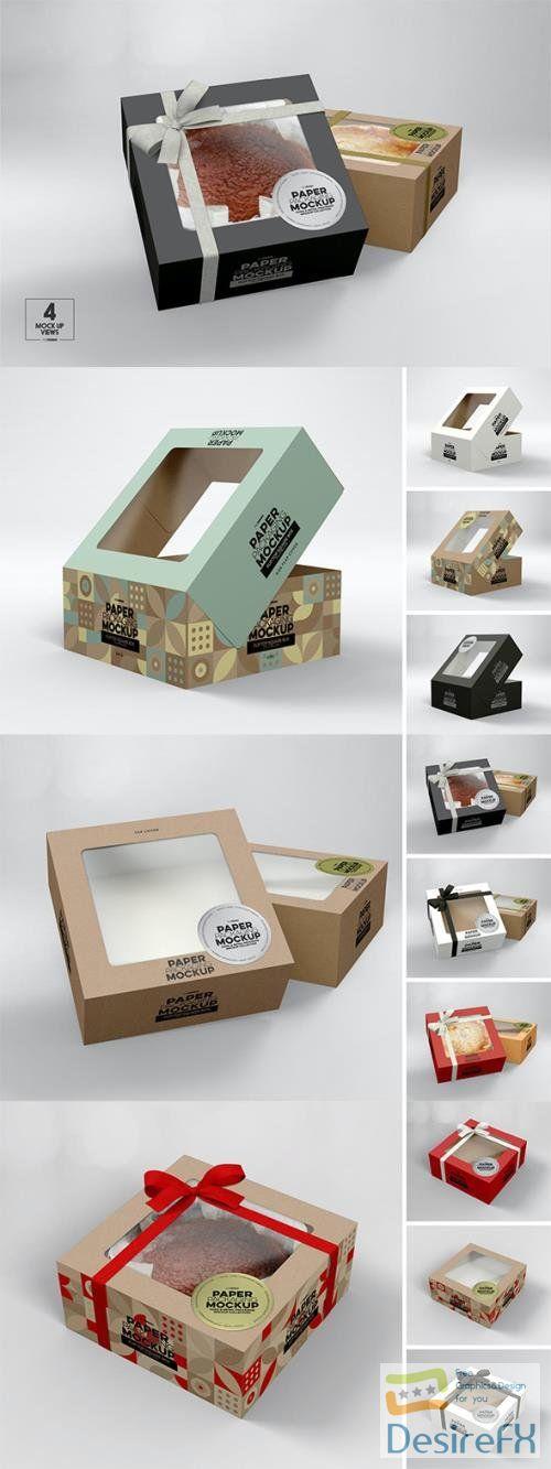 Square Flip Top Cake Box Packaging Mockup PSD