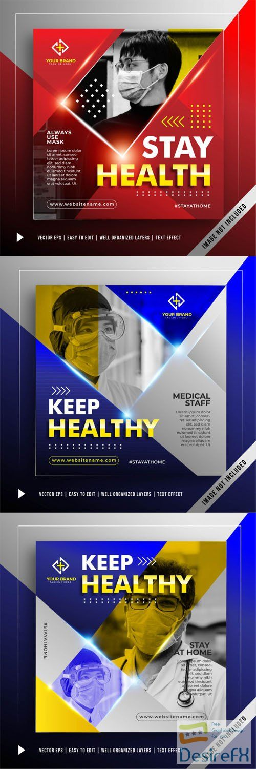 Stay Safe Stay Healthy - Square Banners Promotion Vector Templates