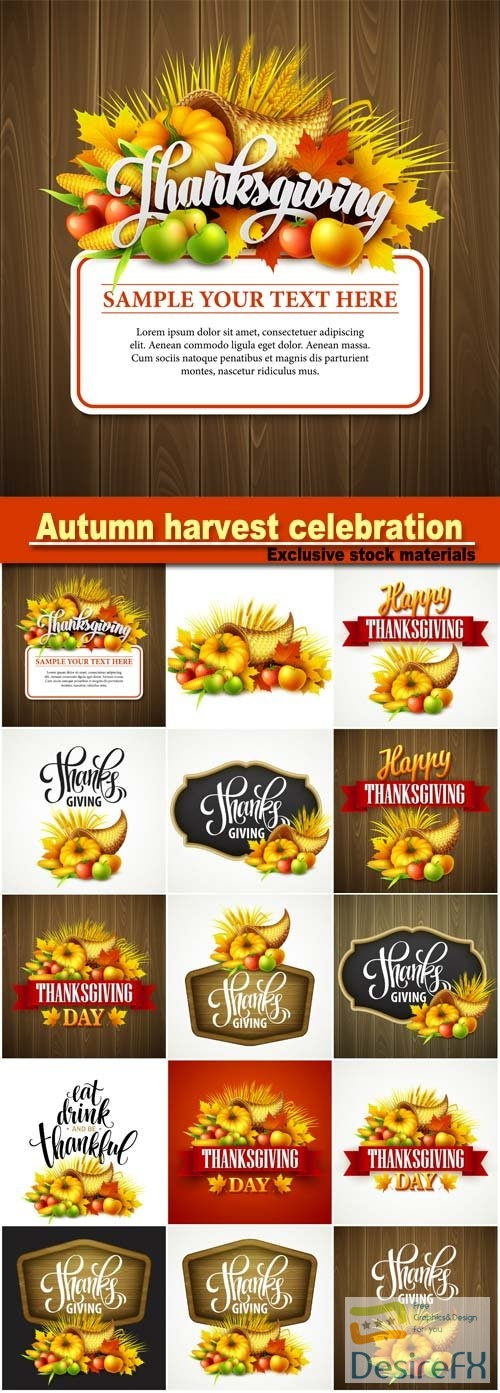 Thanksgiving cornucopia full of harvest fruits and vegetables, autumn harvest celebration, pumpkin and leaves