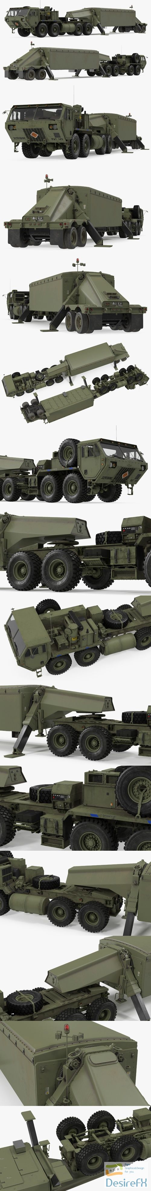 Tractor M983 with THAAD TPY2 Radar 3D Model