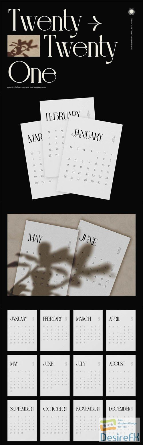 Twenty-Twenty One - 2021 Stylish Calendar Template 12-Months