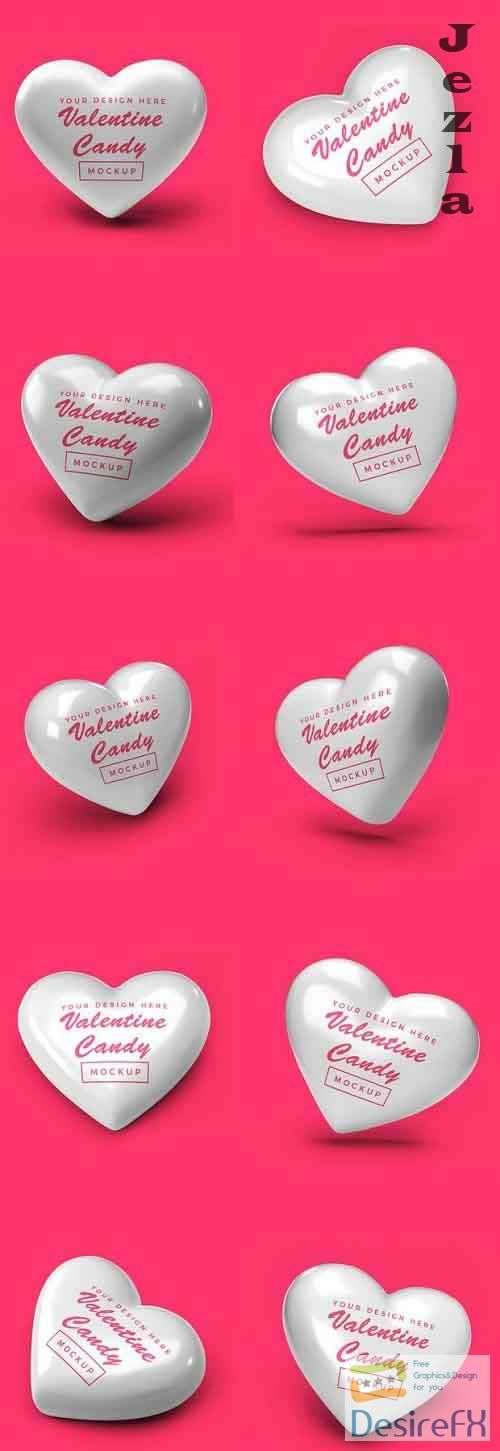 Valentine Heart Candy Mockup Template Bundle
