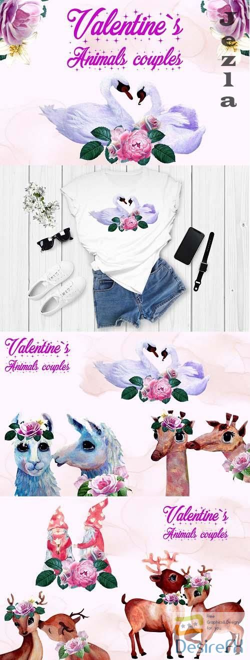 Valentines animal couple clipart - 1167620