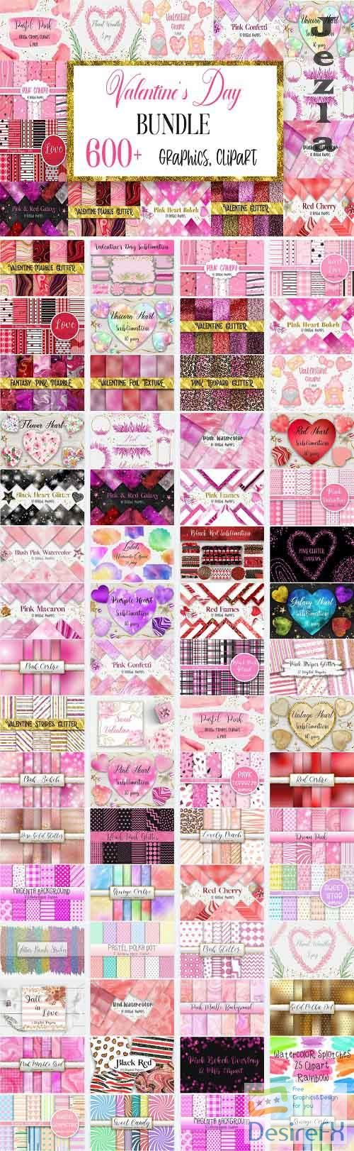 Valentines Day Graphics Bundle - 62 Premium Graphics