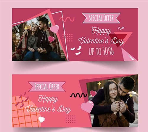 Valentines day sale horizontal banners with photo