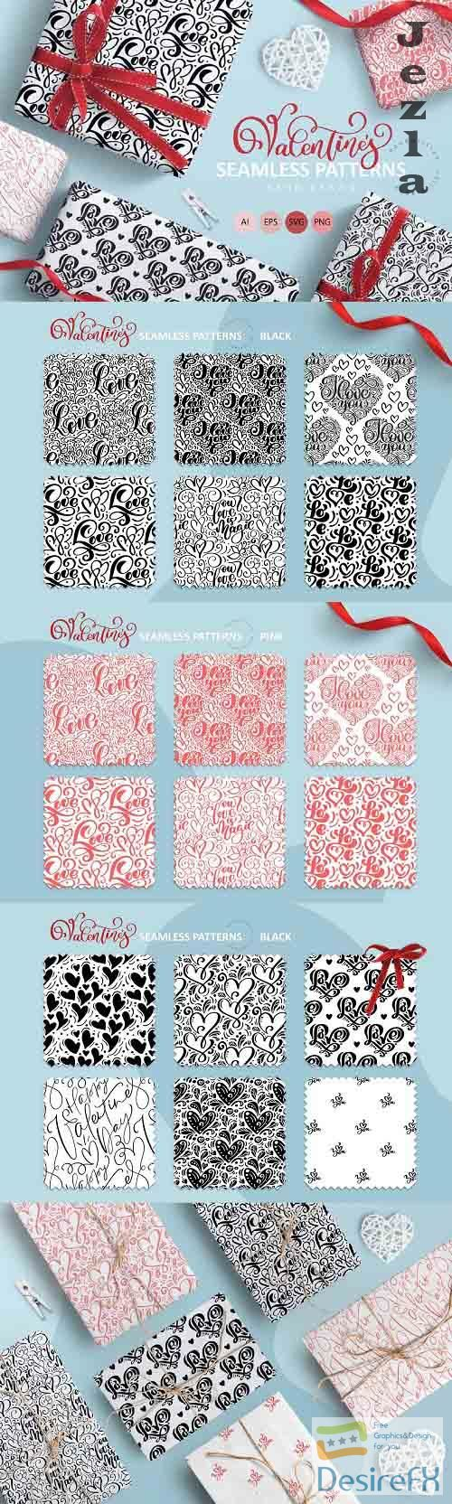 Valentine's Hand Drawn Seamless Patterns - 5805925