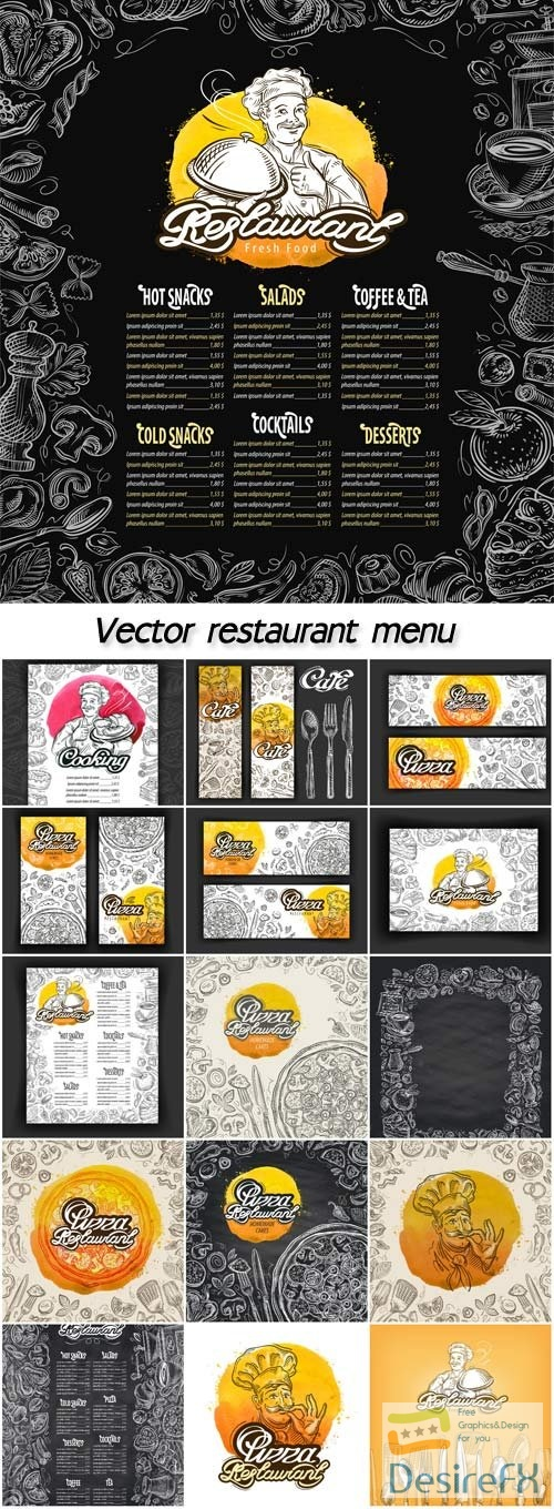 Vector restaurant brochure, menu cafe template with hand-drawn graphic