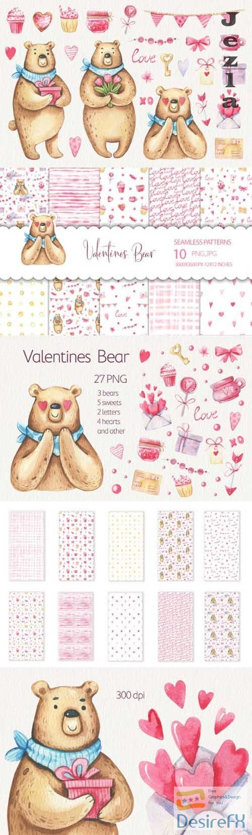 Watercolor Valentines Day Clipart and Seamless Patterns