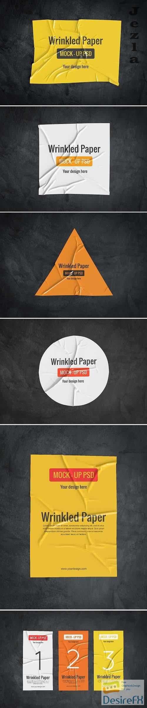 Wrinkled Paper Mockup Collection