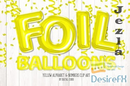 Yellow Foil Balloon Alphabet Clipart - 5760818