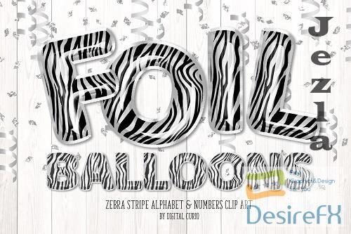 Zebra Foil Balloon Alphabet Clipart - 5760820