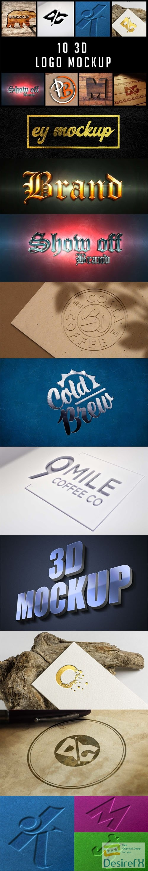 10 3D Logo PSD Mockups Templates Collection