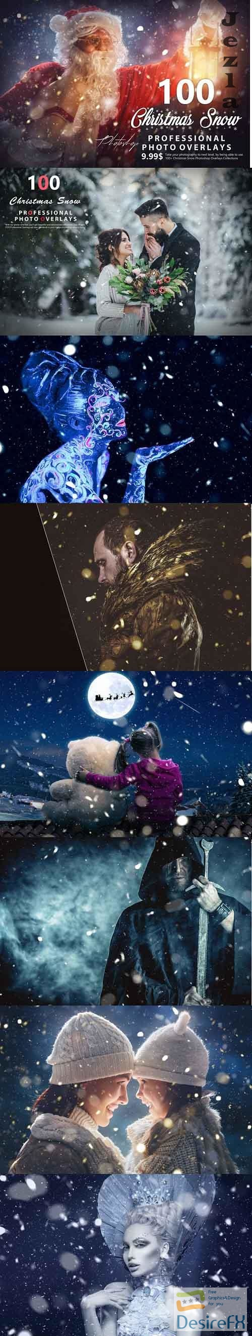 100 Christmas Snow Photo Overlays - 992776