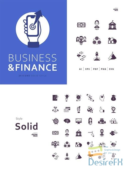 36 Business and Finance Icons Solid Style