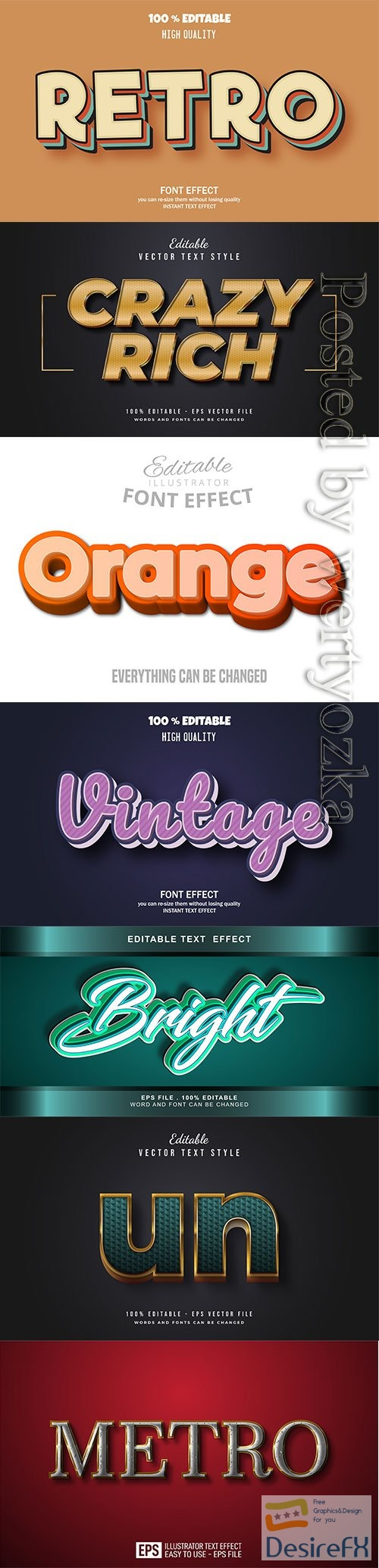 3d editable text style effect vector vol 262