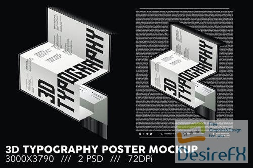 3D Typography Poster Mockup