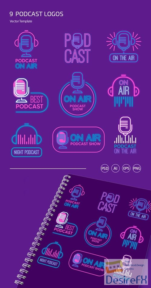 9 Podcast Logo Set PSD Templates + Vector