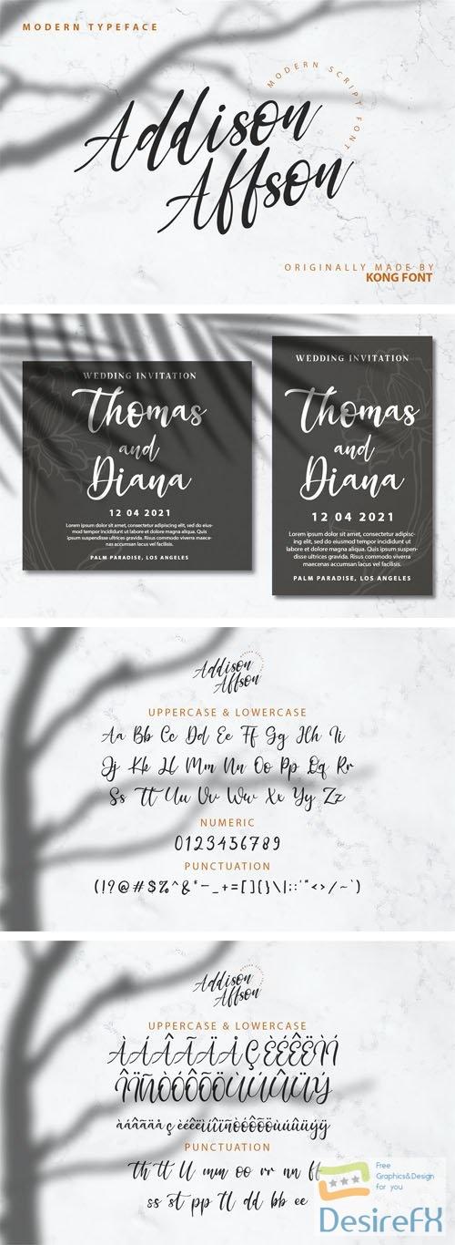 Addison Affson - Modern Script Font 2-Weights