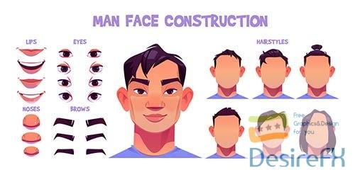 Asian man face construction avatar