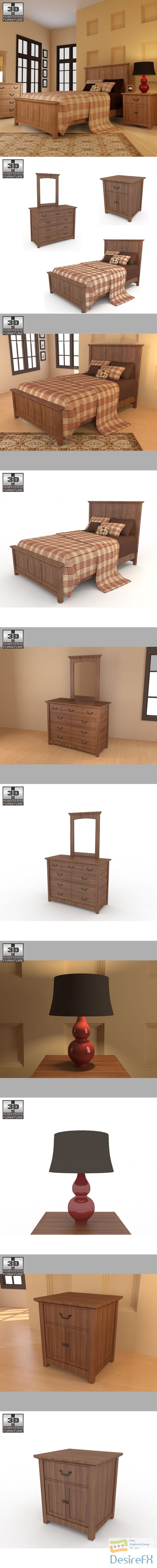 Bedroom Furniture 23 Set 3D Model