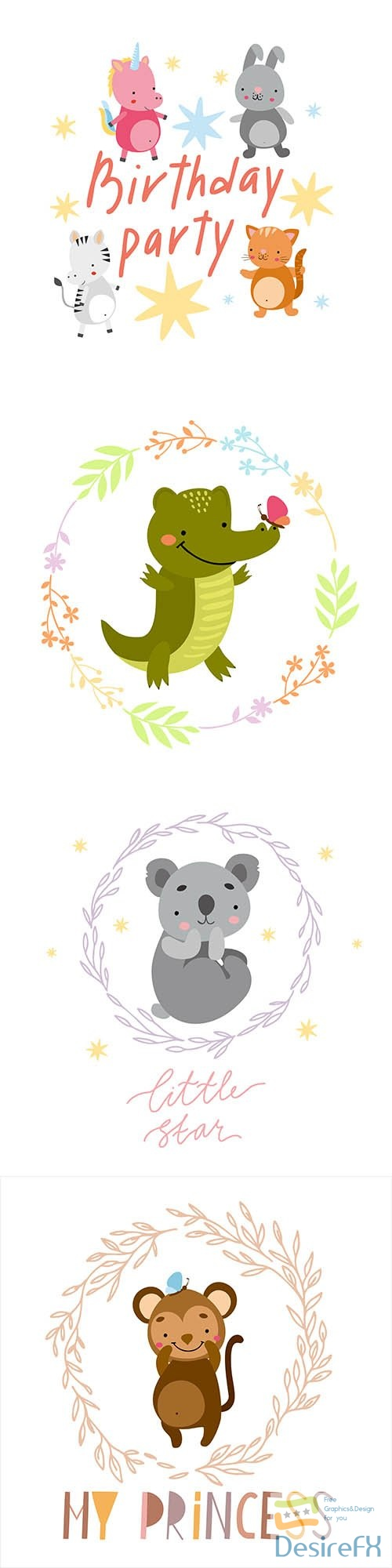 Birthday party illustrations with animals
