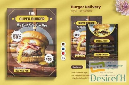 Burger Delivery Flyer PSD