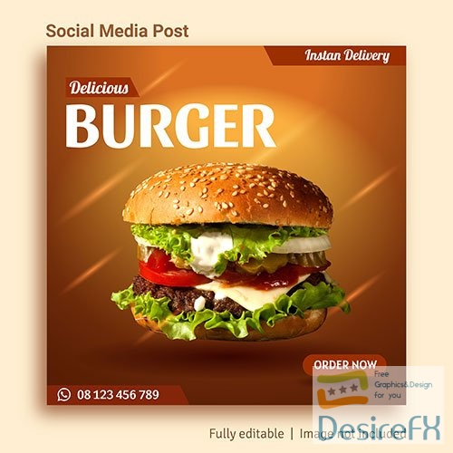Burger sale social media post advertising template