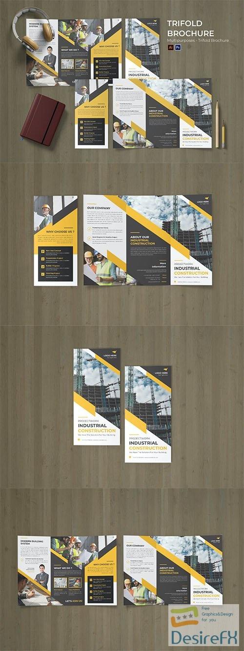 Construction Site Flyer Trifold Brochure PSD