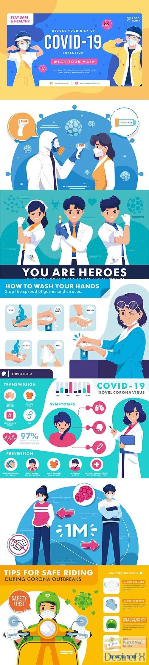Corona virus prevention vector illustration