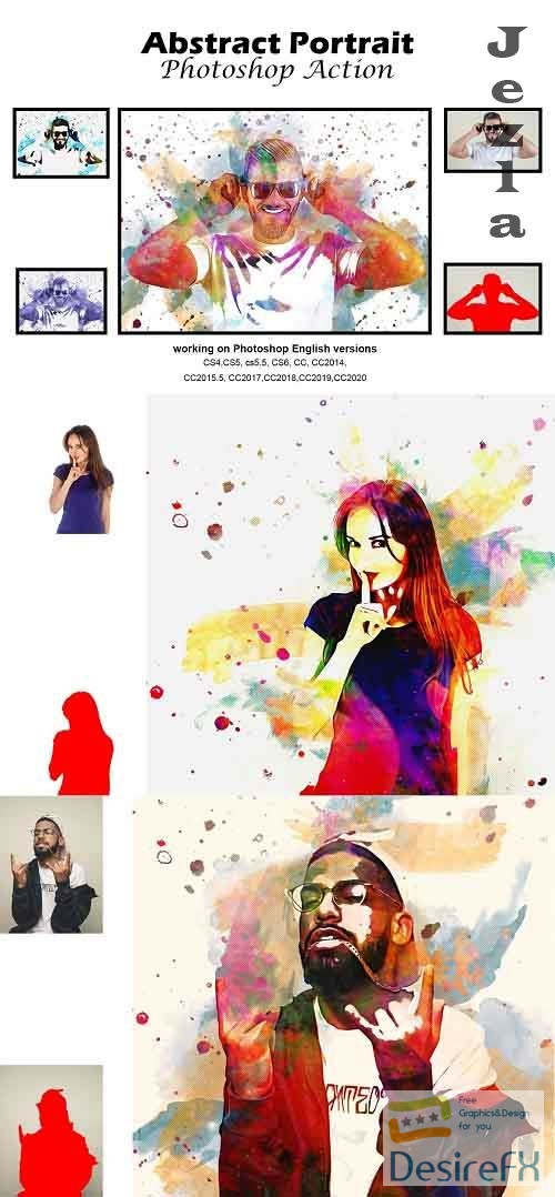 CreativeMarket - Abstract Portrait Photoshop Action 5188913