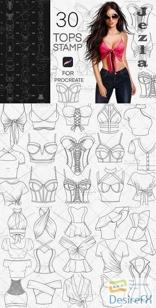 CreativeMarket - Tops fashion stamp brushes Procreate 5833653