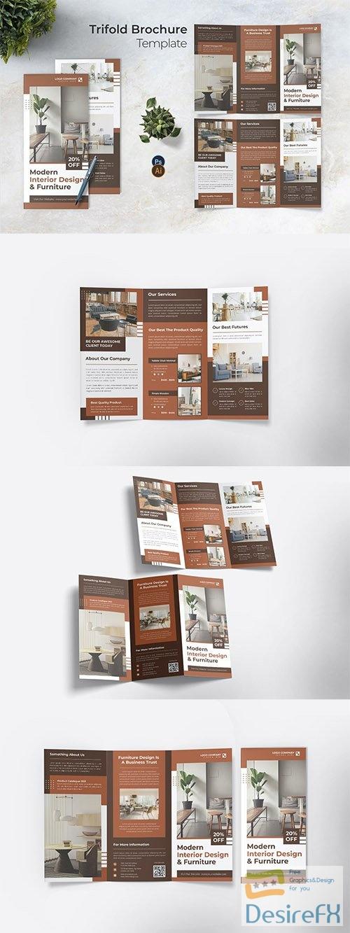 Design Interior Trifold Brochure PSD