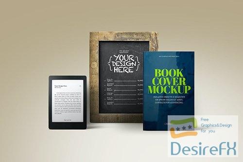 E-Book Reader Mockup Rustic Chalkboard PSD