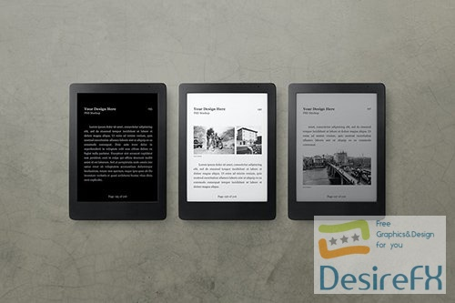 E-Book Reader Mockup Set PSD