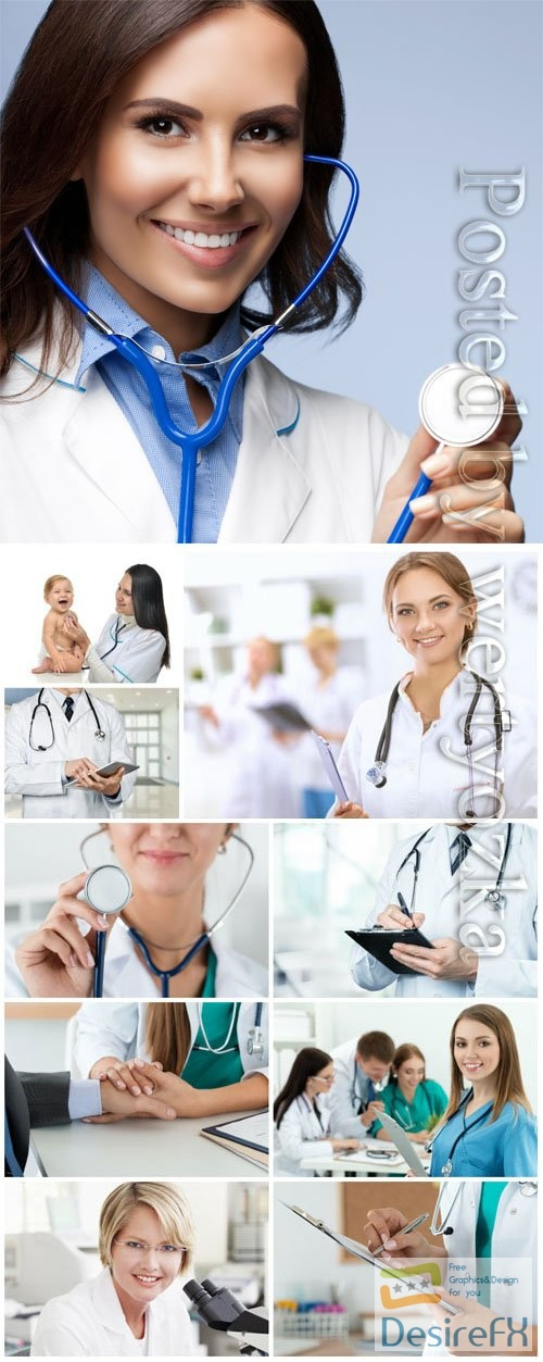 Female doctors with a smile on her face stock photo