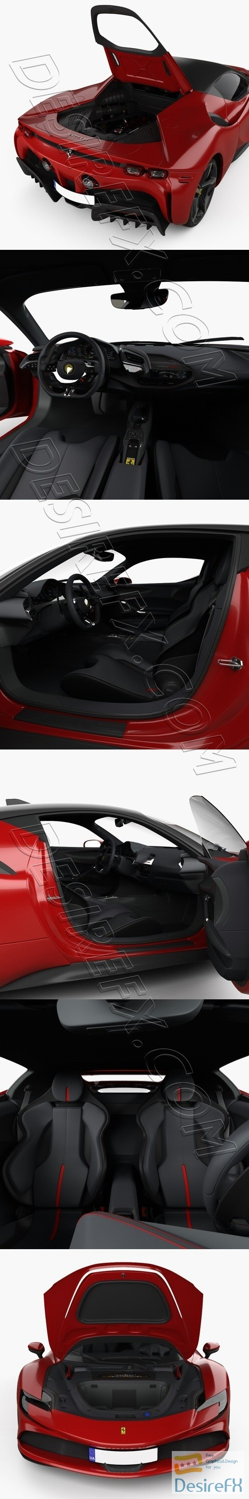 Ferrari SF90 Stradale with HQinterior and wEngine 2020 3D Model
