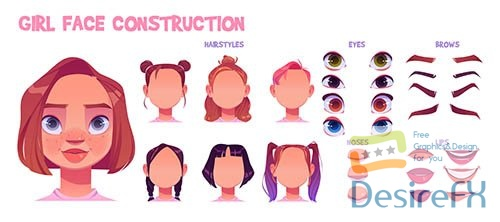 Girl face construction avatar creation set