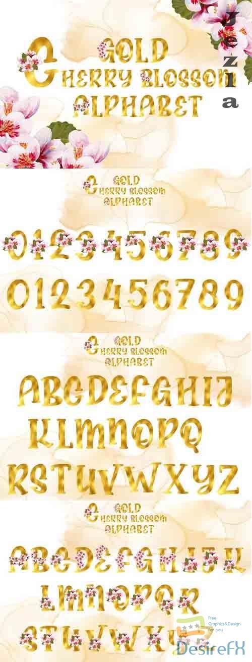 Gold Cherry Blossom Alphabet - 1214996