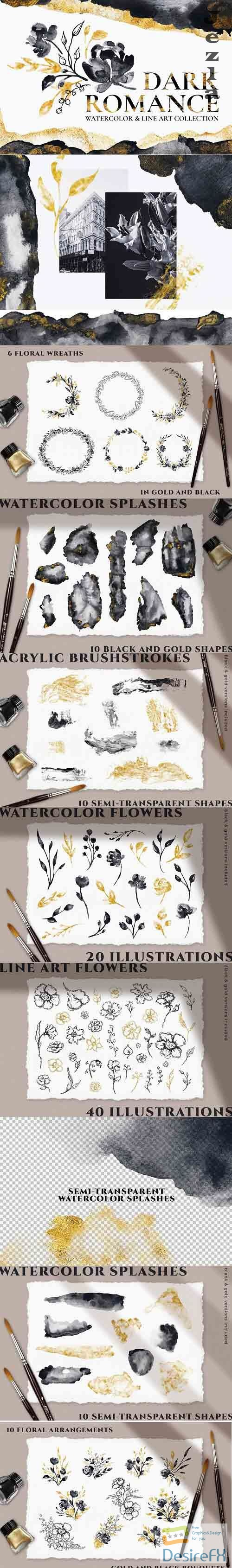 Gold Watercolor Flower Illustrations - 5827585