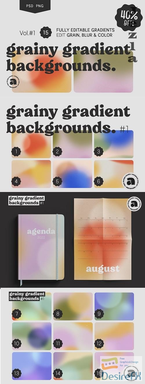 Grainy Gradient Backgrounds #1 - 5814537