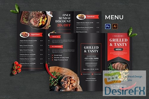 Grilled Steak Food Menu PSD